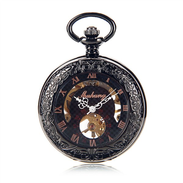 Roman Half Hunter Black Steel See Though Case Skeleton Hand Wind Mechanical Mens Pocket Watch Steampunk Watch