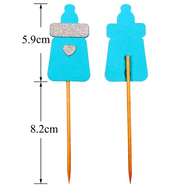 Lincaier 6 Piece Feeding Bottle Cupcake Toppers Baby Shower BabyShower Favors Boy Girl Birthday Party Decorations Kids Supplies