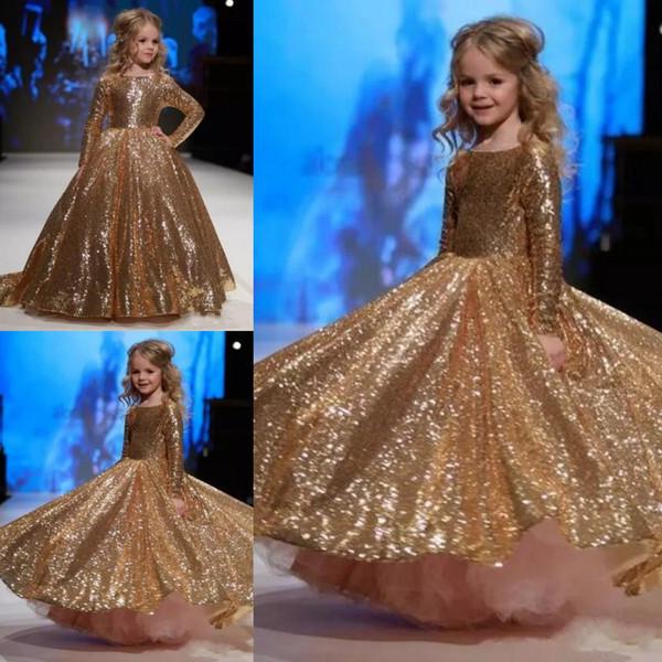 2018 Girls Pageant Robes Princesse Or Paillettes Paillettes Jewel Neck Manches Longues Etage Longueur Enfants Fleur Filles Robe Robes D'anniversaire Pas Cher