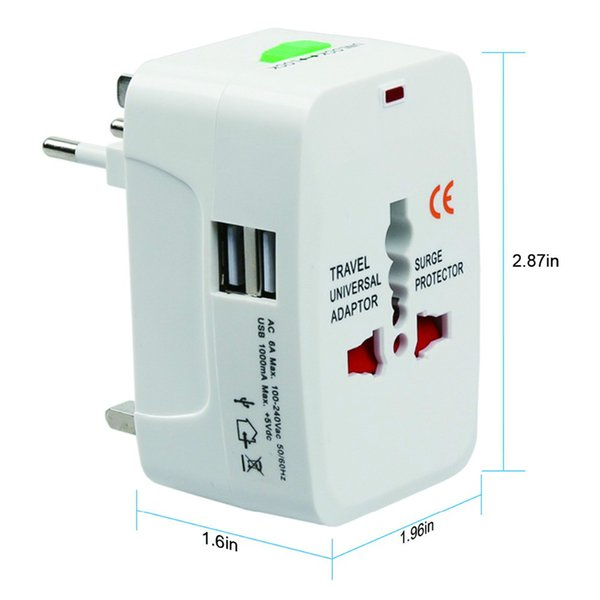 Plugue elétrico adaptador de Tomada de energia Adaptador de viagem internacional Soquete Universal de Viagem Carregador USB Power Converter UE REINO UNIDO EUA AU