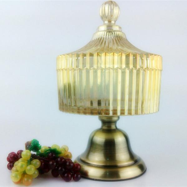All'ingrosso - vaso di stoccaggio di cristallo di cristallo d'annata di stile europeo Vaso decorativo di nozze arredamento domestico Contenitore di frutta secca della ciotola di zucchero di modo 8016
