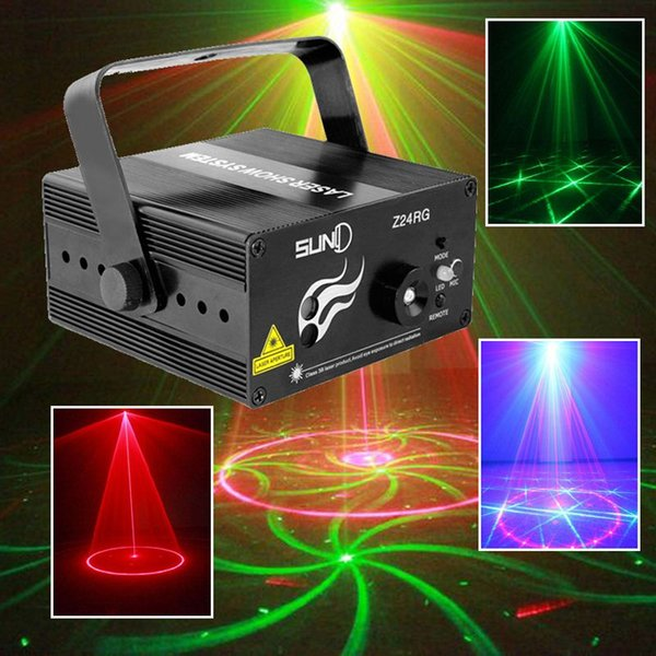 Suny RG Mini 3 Lens 24 Patterns LED Laser Projector Stage Lighting Effect Remote 3W Blue For DJ Disco Party Club Laser