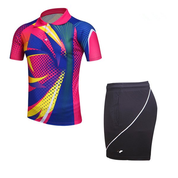 Badminton clothing top quality brand logo jersey Badminton clothes black rose red yellow blue t-shirts and shorts women tennis shirts