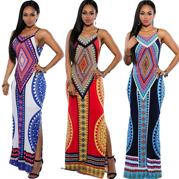 63821c85bb casual sundress plus ankle length Promo Codes - Women Summer Maxi Dress  2016 Bodycon Party Dresses