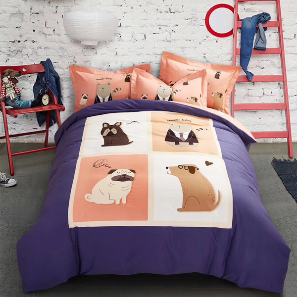 100%cotton fabric bedding set bed cover bed sheet and pilliw case four pieces twill weaving fabric cartoon designs mutural color 175006