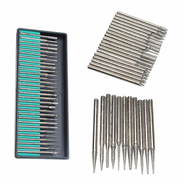 30pcs / set Diamante de plata recubierto de titanio Burr Engrave Drill Set 3mm Herramienta rotativa Accesorio de calidad duradera