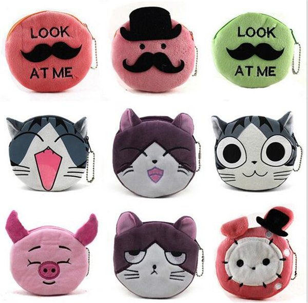 500pcs 16 designs cartoon QQ expression cat girl Coin Purses cute emoji coin bag plush pendant smile wallet D731