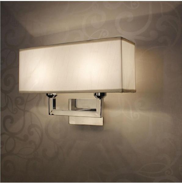 Vintage Iron led wall lighting fabric lampshade rectangle wall light Via/Study/Foyer Lighting Decorative Plating indoor lights