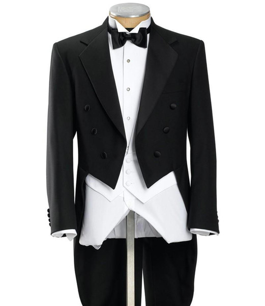 Black Mens Morning Suits Double Breasted Groom Tuxedos With Long Train Tailcoat Best Man Magician Performance Wears(Jacket+Pants+Vest+Bow)