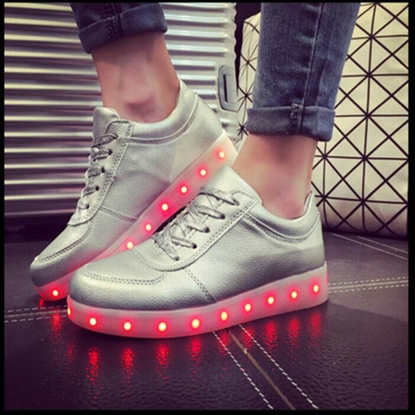 LED Shoes In Silver color
