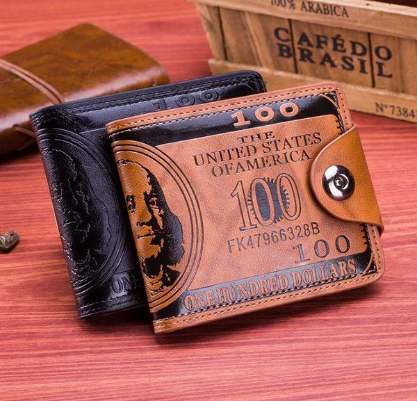 Mens designer card holder case wallet leather retro cowboy men bifold purse wallets for men free shipping