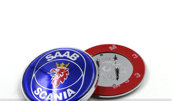 top popular High Quality NEW 68mm SAAB SCANIA 9-5 95 (98-02) Bonnet ABS 3pins Emblem Badge Blue Logo Brand New part 4911541 2021