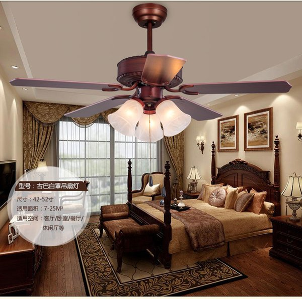 American fan light dining room chandelierfan lights minimalist LED fan lights retro living room fan light chandelier 42inch