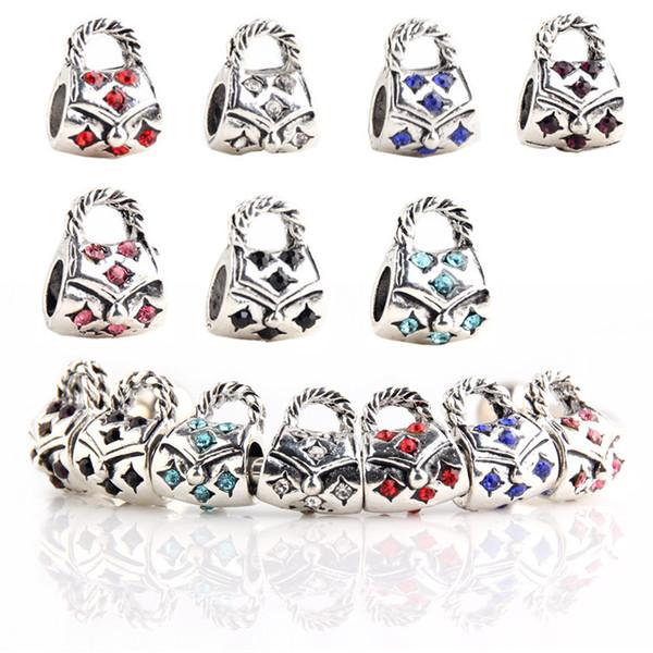 925 Sterling Silver Charm Chain Bag Safety Chain Europea Encantos flotantes Cuentas de plata Para Pandora Pulsera de cadena de serpiente DIY Joyería