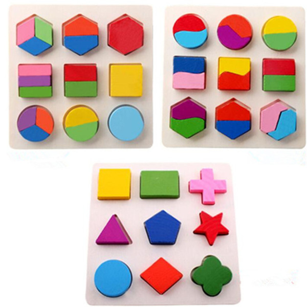 top popular Montessori Wooden math toys Colorful Square Shape Puzzle Toy Early Educational Learning Kids Toy Study Chrismas Gift For Kids 2019