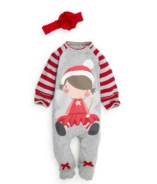 Unisex Baby Boys Girls Christmas Long Sleeve Santa Claus Little Girls Cartoon Romper Jumpsuit pajamas clothing