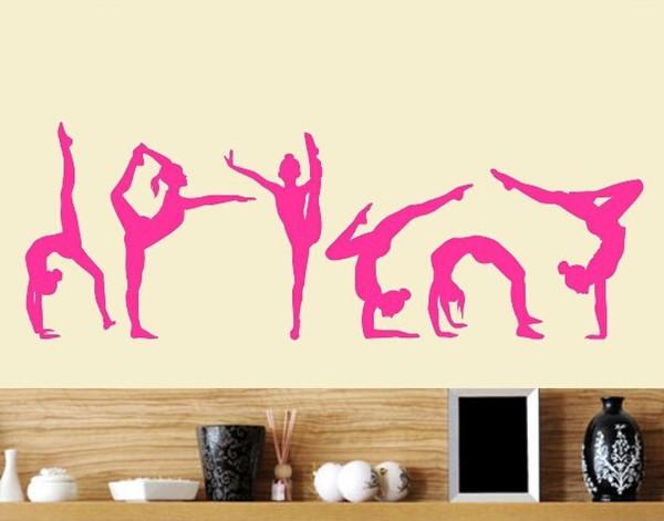 Free Shipping Six Dance Girls gymnastics wall Sticker Sport Vinyl Art Wall Mural Sticker For Home decoration Wall Papers 20*60 // 40*120 cm