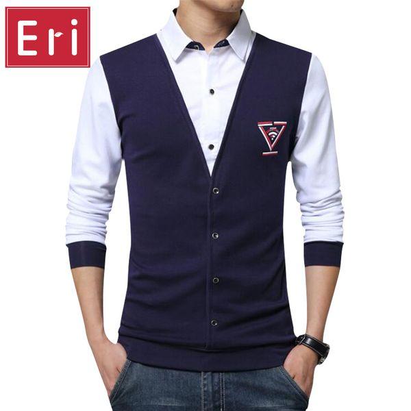 Wholesale- 2017 New Shirt Trend False Two Fashion Casual Long Sleeve Slim Men Shirts Print Knitted Mens Dress Shirts Clothes 4XL 5XL X494