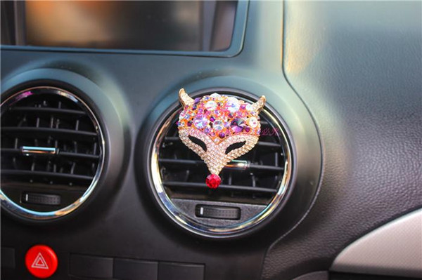 Colorful Crystal Fox Car Vent Stick Air Freshener Accessories, Cute Hanging  Car Air Fresher For