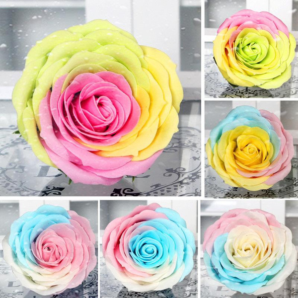 Hot Sale 7cm colorful Rose Soaps Flower Packed Wedding Supplies Gifts Event Party Goods Favor Toilet soap Scented bathroom accessories