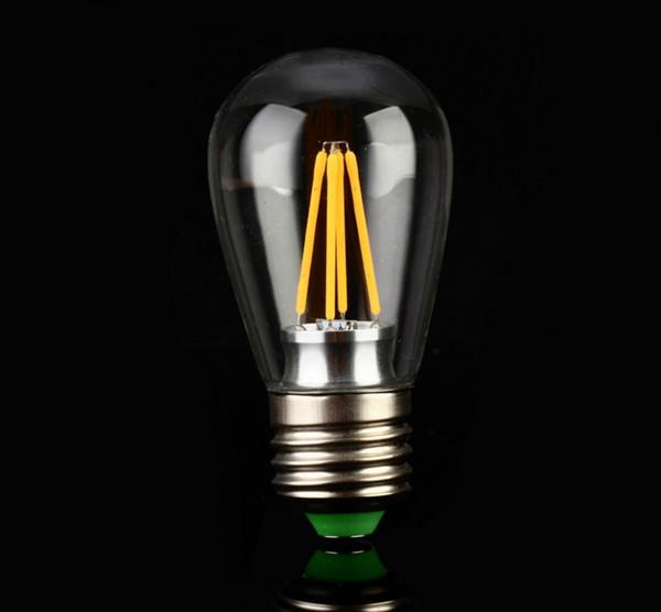 El filamento de Edison llevó las bombillas S14 2w 4w regulables E26 E27 enciende la lámpara incandescente bombilla de vidrio transparente 2W 4W bombilla de luz antigua LLFA
