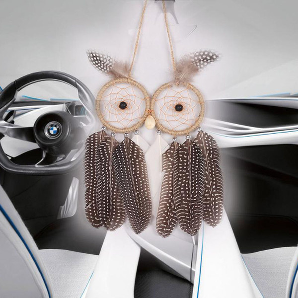 2017 Hot Wall Hanging Free Shipping Dream Catcher Car Hanging With Owl Feather Decoration Linen Wind Chime Hanging Home Decor Decoration