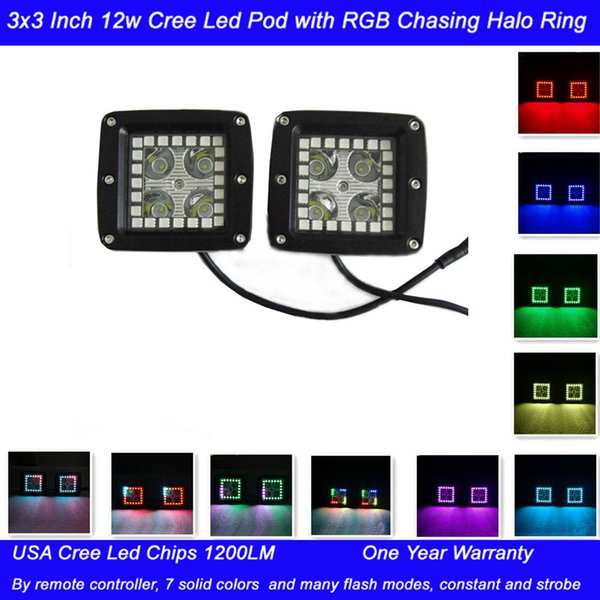 2pcs 3X3 Inch 12W Led Work Lights with RGB Chasing Halo Ring Remote Controller Flashing 7 Colors Tons of Flashing Modes Free Wiring Harness