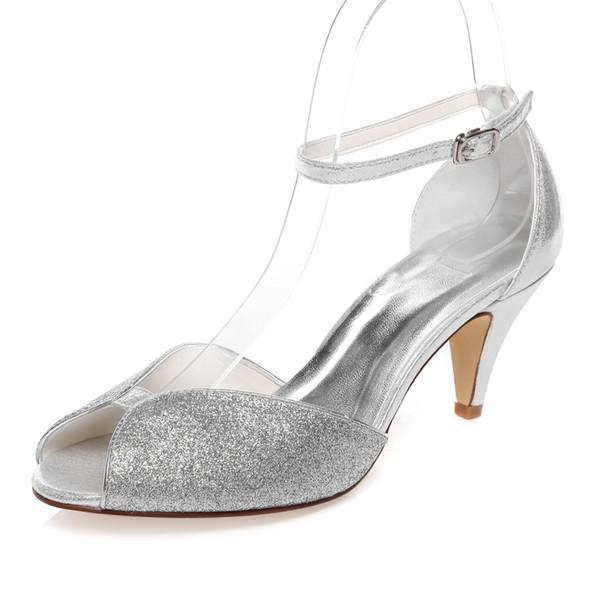 6 8cm Heel Sparkle Silver Color Prom Party Shoes Bridal Shoes
