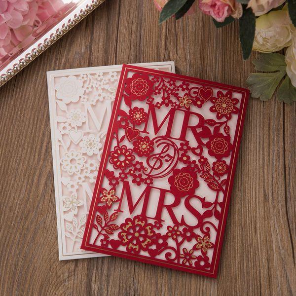 Free Printing Laser Cut Convites De Casamento Cartão De Convite De Casamento Com MR. SRA. Flores Oco Convites De Casamento Personalizados BW-I0007