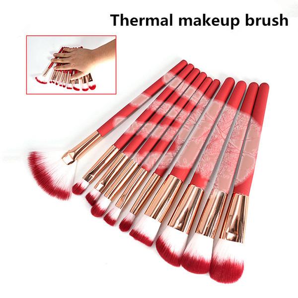 Newest10 pcs Sensitive Thermal Makeup Brushes Sets Red Brushes Professional make-up tools Foundation Blush Set Cosmetic Brush Set Kit