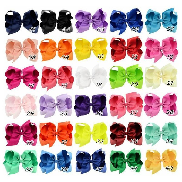6 inch Kids hair bows hairbows Infant girls big bow with Barrettes solid color 15cm*12cm 40Colors for choose