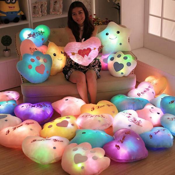 top popular Luminous Glowing Pillow Star Heart Bear Paw Led Light Plush Pillow Night Light Kids Cushion Christmas Toys OOA2649 2019