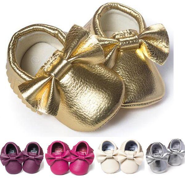 2016 Baby Erste Wanderer Weiche Sohle Neugeborenen Kleinkinder Schuhe Mokassins Leder Säuglingsschuhe Mädchen Kinder Baby Bogen Quasten Schuhe 11 12 13 cm