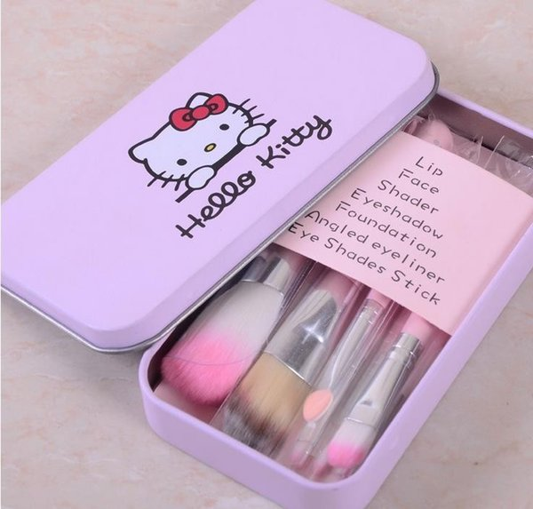 c6e12ec08 New Hello Kitty 7 Pcs Mini Makeup brush Set cosmetics kit de pinceis de  maquiagem make