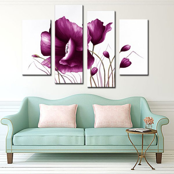 Amosi Art-4 Pieces Canvas Violet Tulip Paintings Modern Art Picture Prints Painting On Canvas For Home Wall Decor( Wooden Framed)
