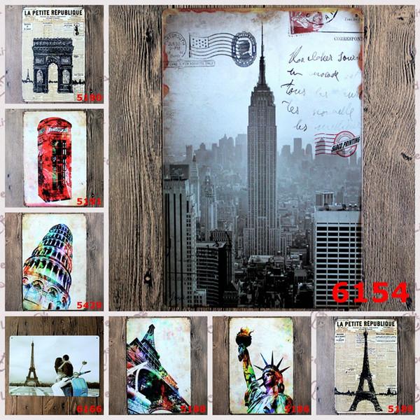 Statue Of Liberty tower tellphone booth retro Coffee Shop Bar Restaurant Wall Art decoration Bar Metal Paintings 20x30cm tin sign 5pcs/lot