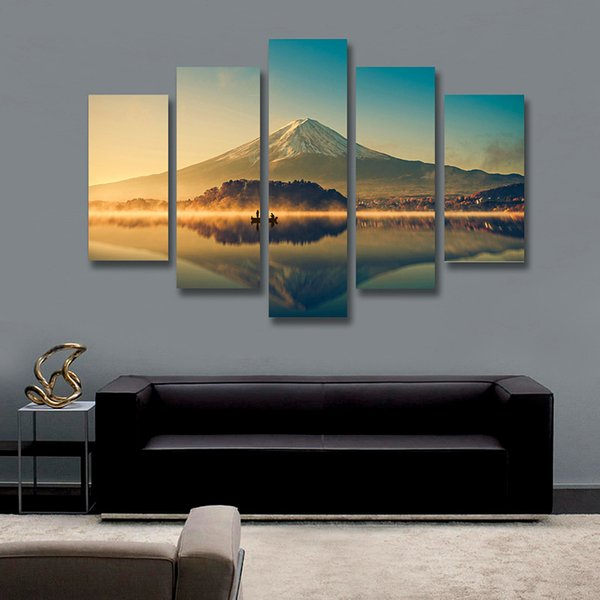 5 Piece Wall Art Painting Volcano Lake Landscape Painting Sunset Scenery Canvas Print Picture for Living Room Unframed