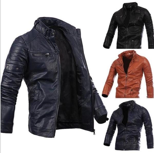 Men Locomotive Coat Leisure Leather Jackets Zipper Casual Jumper Winter Outerwear Fashion Overcoat Top Outerwear Men's Clothing KKA2728