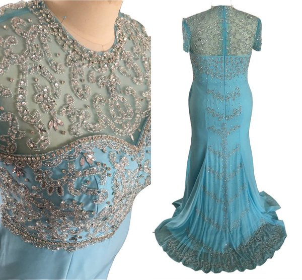 2018 New Blue Memaid Mother Of The Bride Dresses Illusion Jewel Neck Crystal Beading Plus Size Short Sleeves Chiffon Wedding Guest Gowns