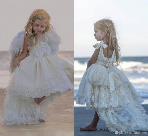 High Low Flower Girls Dresses Ivory For Wedding Layers Lace Ribbon Lovely Flower Girl Dress Wedding Gowns Beach Spring Kids Communion Dress