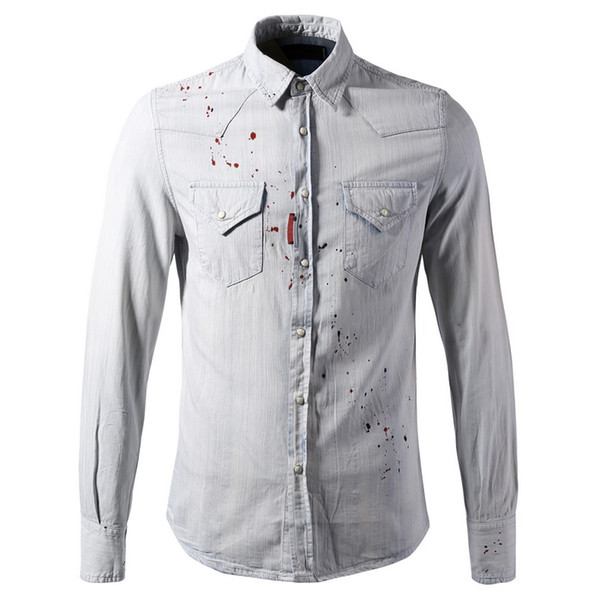 Light Blue Jeans Shirt Cool Guy Vintage Denim Shirts Hommes Fading + Peint Skinny Fitness Casual Fashion Plus Taille 3XL