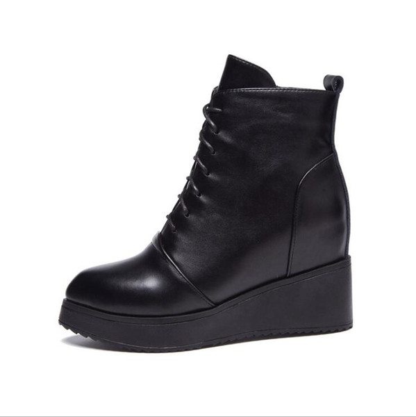 New Mid Calf Boots Women Black Genuine Leather Round Toe Flat Heels Motocyle Boots Hademade High Quality Short Boots