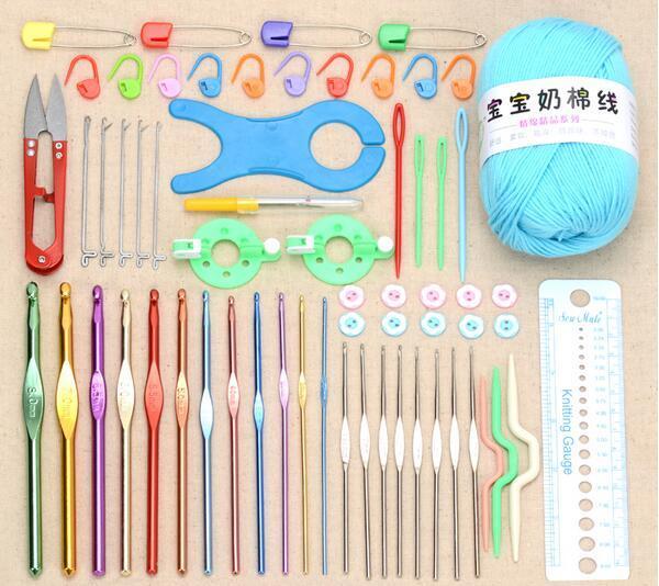 With bag of 62pcs set Multicolour Metal Hook Needle Set Knitting