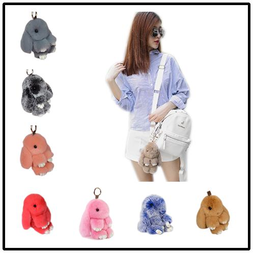 HOT Bunny Key Chain 40 Colors Genuine Rabbit Fur Balls Trinket 13cm 18cm Pompoms Keychain Women Handbag Charms Pendant