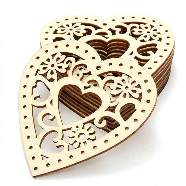 Enfeites de Casamento de Coração de madeira Quente Decorações Casa Grarden festa de Aniversário dos Namorados pendurado adereços atacado, frete grátis, 10 pc por saco