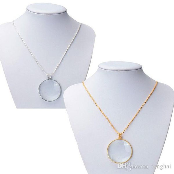 High Quality Beautiful Design Gold /Silver Chain New Necklace 6x 1-3/4'' w/ 36'' Glass Lens Pendant Necklace Magnifier H