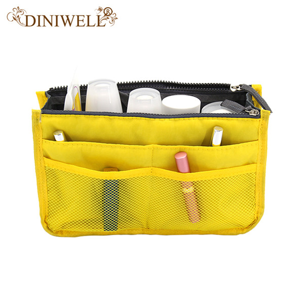 Wholesale- DINIWELL Portable Double Zipper Storage Bag Insert Organiser Handbag Women Travel Bag in Bag Organizer For Cosmetics Ipad