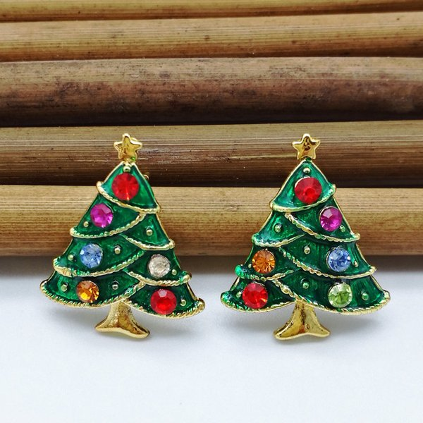 5pairs New Year Series Metal Drops Drill Christmas Tree Earrings 24 * 19MM Jewelry Gifts Christmas Decorative Earrings
