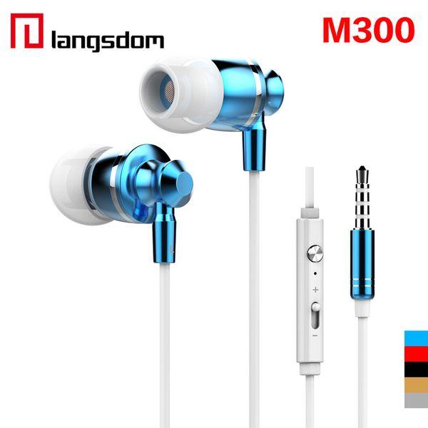 New Extrabass power in ear Definition 3.5mm Plug Metal Headphone Headset Langston M300 Metal Earphone with mic iphone 6 Cellphone EAR185