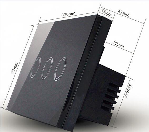 Crystal Glass Panel Smart Touch Screen Wall Light Switch 3 Gang with LED indicator US Standard
